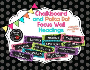 Focus Wall Headings in Polka Dot and Chalkboard - EDITABLE!