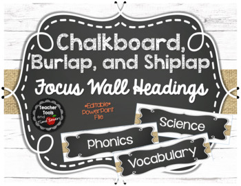 Focus Wall Headings in Shiplap, Burlap, and Chalkboard - EDITABLE!