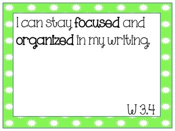 "Focus Wall ""I Can"" Statements: Writing"