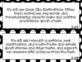 Focus Wall Objectives: 3rd Grade Reading (B&W)