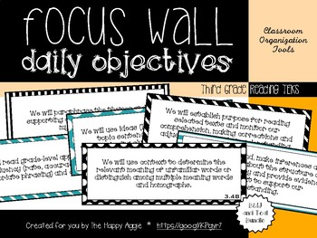 Focus Wall Objectives: 3rd Grade Reading (B&W and Teal Bundle)
