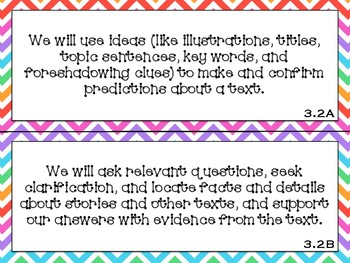 Focus Wall Objectives: 3rd Grade Reading (Colors Bundle)