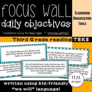Focus Wall Objectives: 3rd Grade Reading (Teal)