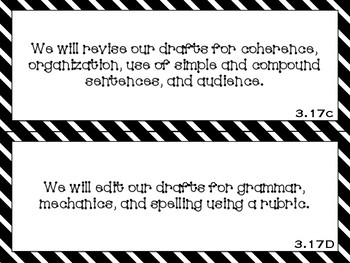 Focus Wall Objectives: 3rd Grade Writing (B&W)