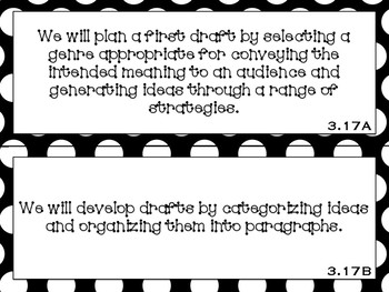 Focus Wall Objectives: 3rd Grade Writing (B&W and Teal Bundle)