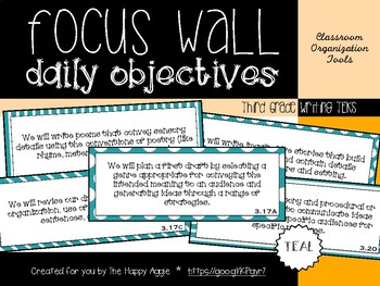 Focus Wall Objectives: 3rd Grade Writing (Teal)