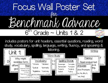 Focus Wall Poster Set Units 1&2 Benchmark Advance 6th Grade