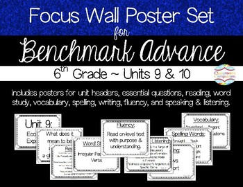 Focus Wall Poster Set Units 9 & 10 Benchmark Advance 6th Grade