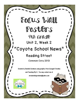 "4th Grade Focus Wall Posters ""Coyote School News""  Reading Street 2013cc"