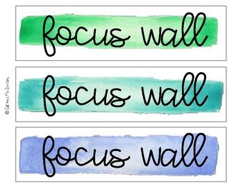 Focus Wall Watercolor Labels
