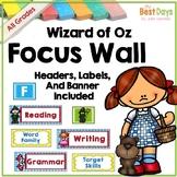 Focus Wall Headers: Wizard of Oz Classroom Decor