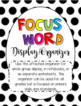 Focus Word Word of the Week Organizer