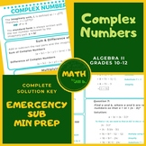 Complex Numbers Algebra 2 Lesson + Worksheet + Answer Key
