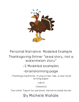 Modeled Writing Thanksgiving, Focus on A Moment-Seed Story Pers. Narrative