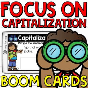 Focus on Capitalization Boom Cards (Digital Task Cards) for Third Graders
