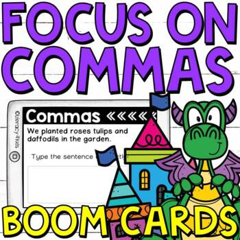 Focus on Commas Boom Cards (Digital Task Cards) for Third Graders
