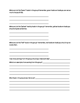 Focus on Food Groups Worksheet and Food Groups Notes