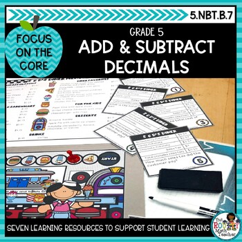 Adding & Subtracting Decimals- Math Center Activity and Printables Pack