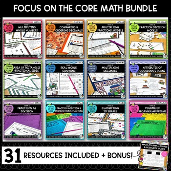 5th Grade Math GROWING Bundle- Math Center Activity and Printables Pack