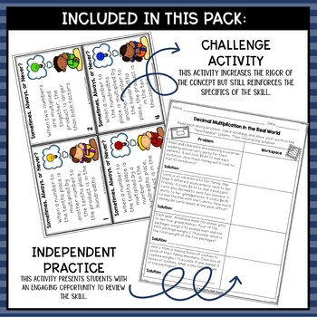 Multiplying Decimals- Math Center Activity and Printables Pack