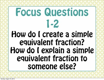 Focus or Essential Questions for Math Expressions Common C