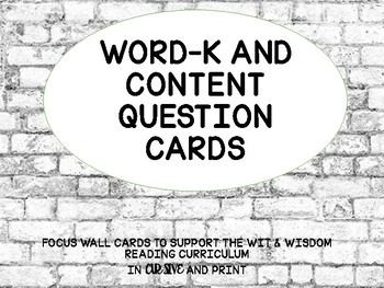Focus wall & WORD - K cards to support Wit & Wisdom (with pictures)