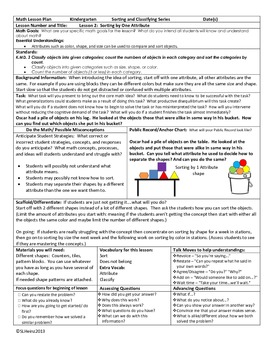 Kindergarten:  Lesson Plan Focus 1: Lesson 2: Sorting By One Attribute