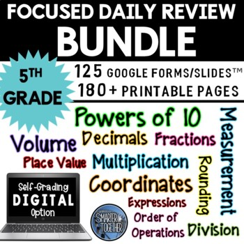 Focused Daily Review - 5th Grade - Math Common Core Aligned - BUNDLE