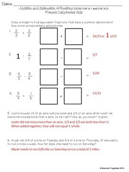 Fractions - Addition and Subtraction - Focused Daily Review - 5th Grade - CCSS