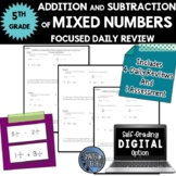 Fractions - Mixed Numbers (+ and -) - Focused Daily Review - 5th Grade