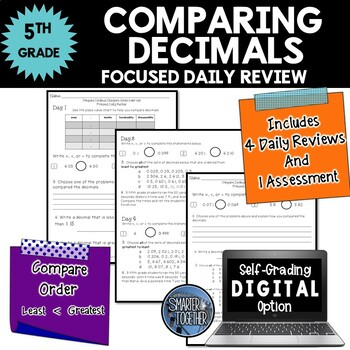 Comparing Decimal Numbers - Focused Daily Review - CCSS -
