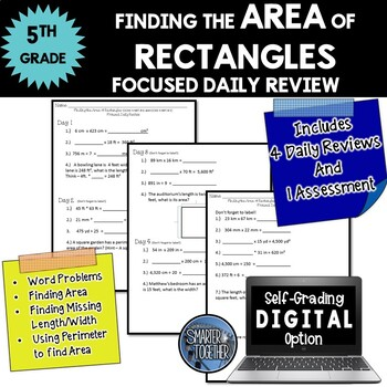 Area of Rectangles - Focused Daily Review - 5th Grade - CCSS