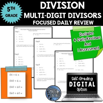 Multi-Digit Division - Focused Daily Review - Whole Numbers - CCSS - 5th Grade