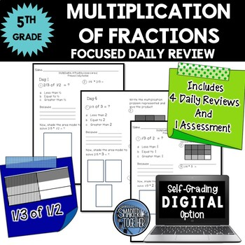 Multiplication of Fractions - Focused Daily Review - Common Core - 5th Grade