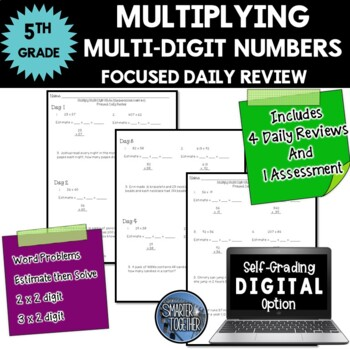 Multiplying Multi-Digit Numbers - Focused Daily Review - Common Core - 5th Grade