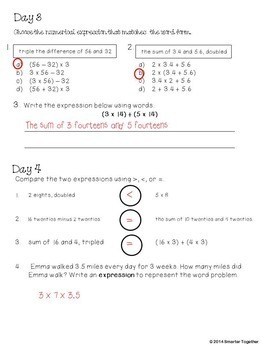Numerical Expressions - Focused Daily Review - CCSS - 5th Grade