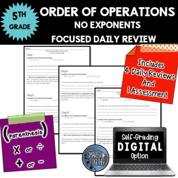Order of Operations - No Exponents - Focused Daily Review - CCSS - 5th Grade