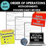 Order of Operations - With Exponents - Focused Daily Review - CCSS - 5th Grade