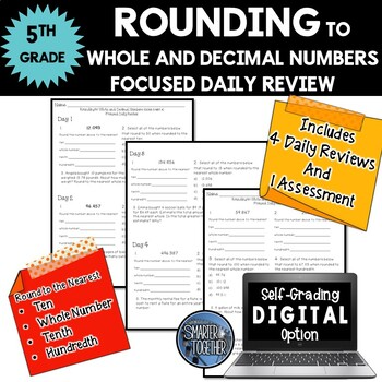 Rounding - Whole and Decimal Numbers - Focused Daily Review - 5th Grade