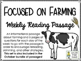 Focused on Farming - Weekly Reading Passage and Questions
