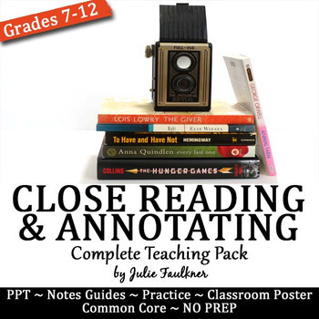 Close Reading & Annotating Lesson, Complete Teaching Pack for Any Text