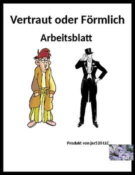 Förmlich oder Vertraut Familiar vs Formal in German worksheet 2