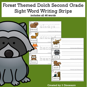 Forest Sight Words & Nouns Tracing & Writing Strip Bundle