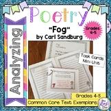 Poetry Task Cards Fog by Carl Sandburg Poetry Analysis