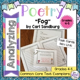 Poetry Task Cards Fog by Carl Sandburg Poetry Analysis