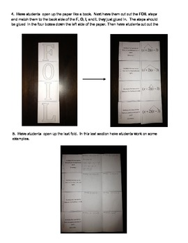 Foil Foldable Notes- Multiplying Two Binomials