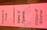 Volume of Cones, Pyramids, and Spheres Foldable Notes