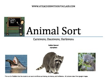 Fold-able of Carnivore, Herbivore and Omnivore Animals