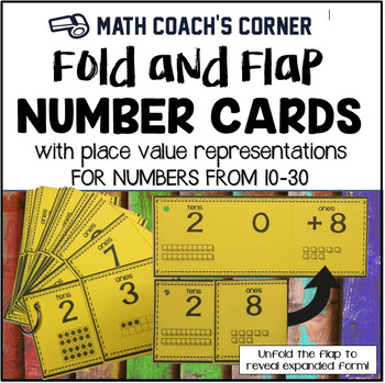 Fold and Flap Number Cards with Place Value Representations, 10-30