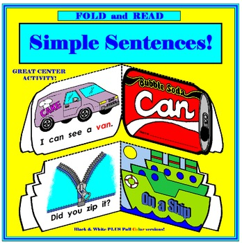 Fold and Read Simple Sentences: CVC words, sight words and rimes